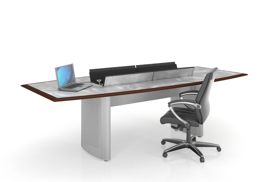 Mesa conference table metal accents..