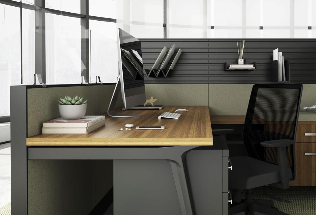 Interra cubicles with details, dark trim