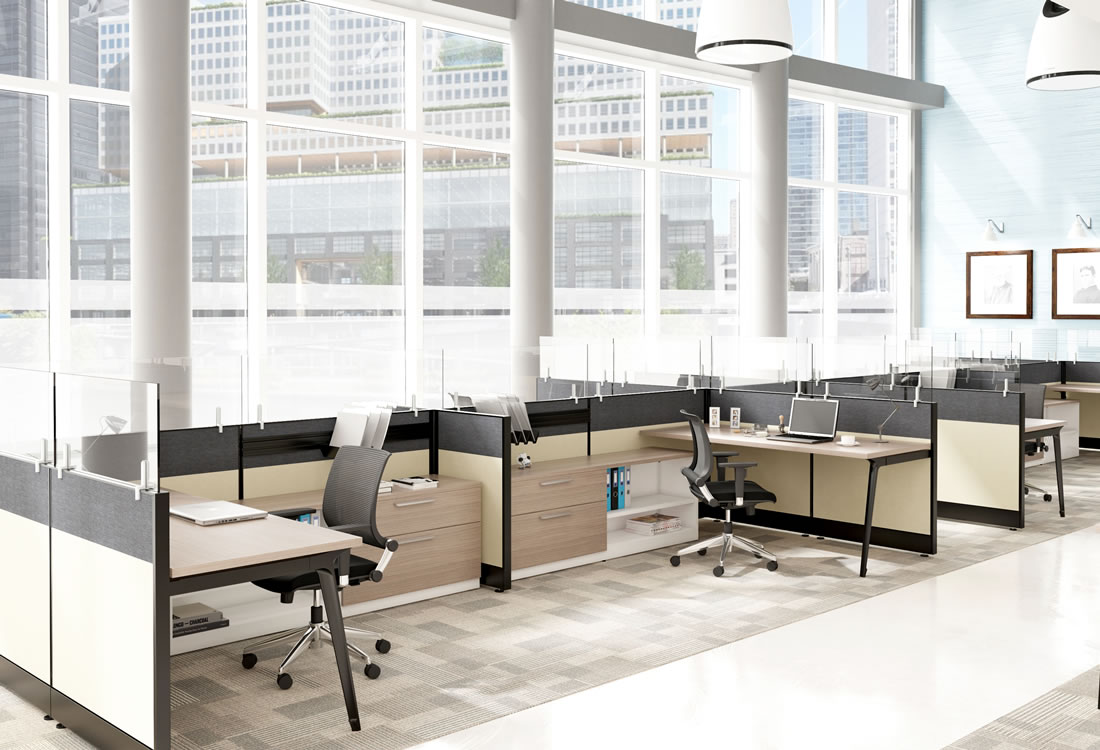 Novo cubicles with short panels and credenzas