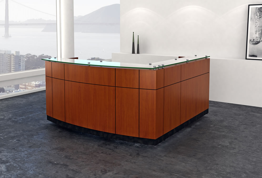 Willow reception desk cherry with bow front straight side.