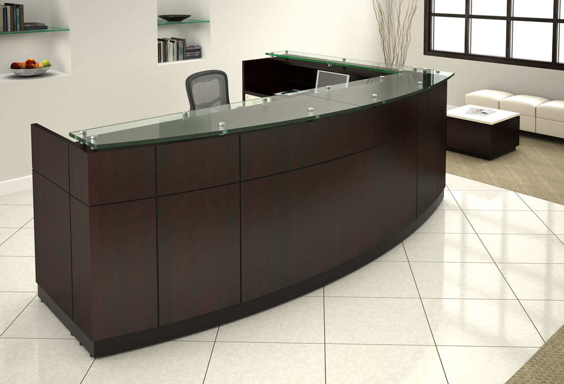 Willow reception desk dark with bow front.