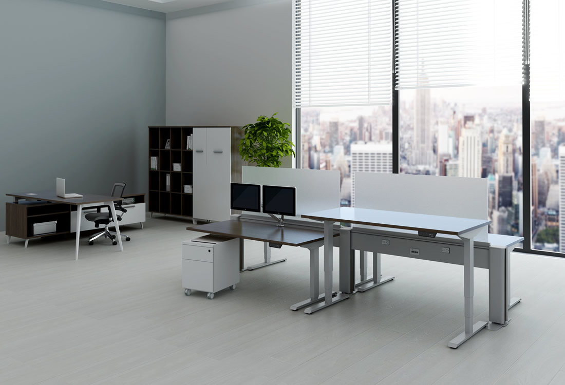 Four My Hite standing desks with beam system providing data and power.