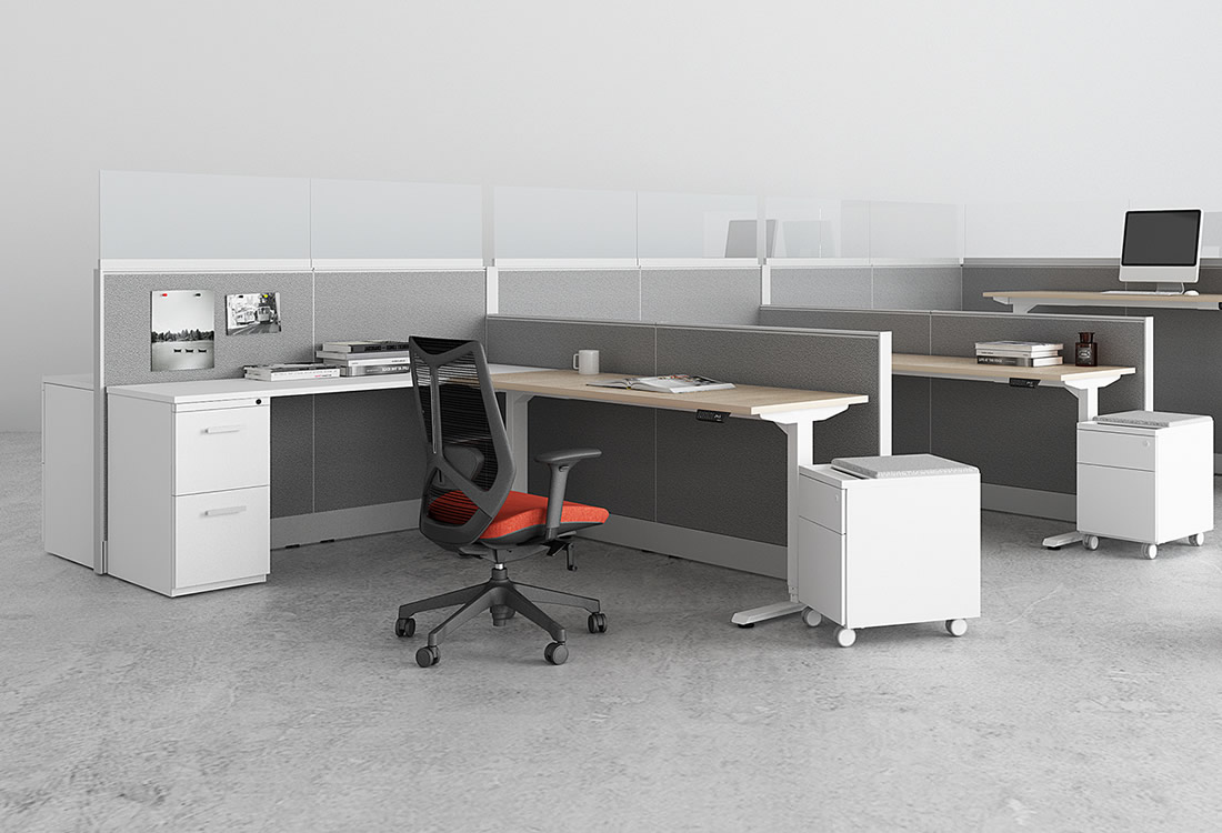 My Hite standing desks incorporated into Interra cubicle system.