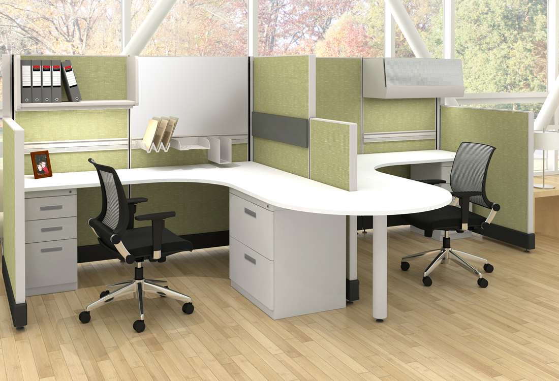 System Two cubicles small format with shared guest area