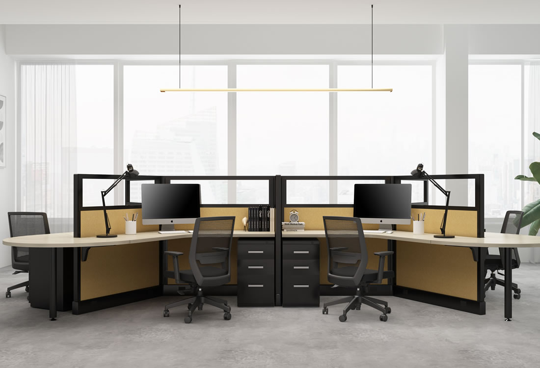 System Two cubicles with framed glass