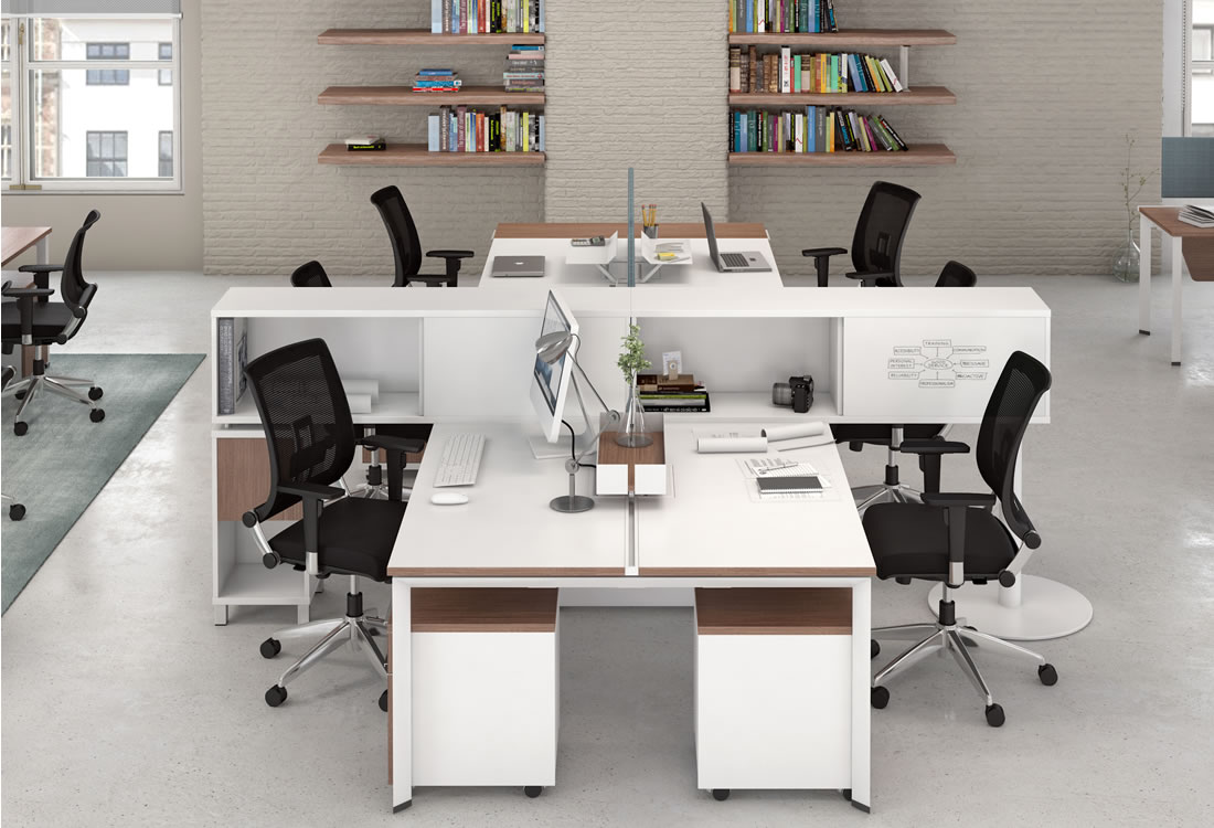 Verity four seat workgroup with credenzas
